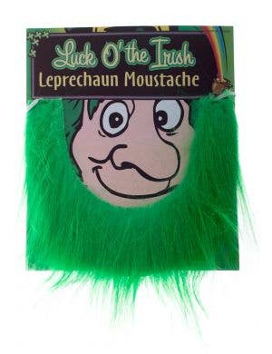 Green Fluffy Leprechaun Fake Beard Moustache Costume Accessory