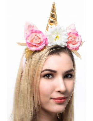 Pink Unicorn Costume Headband with Flowers Main Image