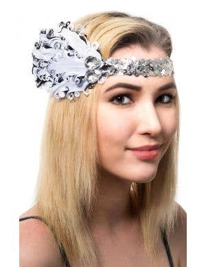 Black And Silver Sequined Feather Flapper 1920's Costume Headband