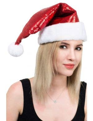 Deluxe Red Sequined Christmas Santa Costume Hat