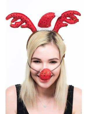 Sequined Red Reindeer Antlers on Headband and Nose Set