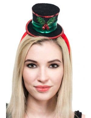 Black and Red Mini Christmas Top Hat on Headband Main Image