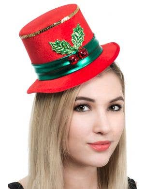 Red Velvet, Holly and Bells Mini Top Hat on Headband
