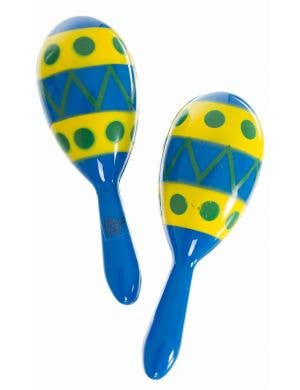 Blue And Yellow Novelty Plastic Latin Fiesta Maracas Accessory