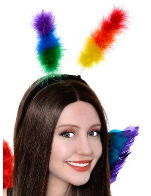 Fluffy Rainbow Feather Head Bopper Costume Accessory