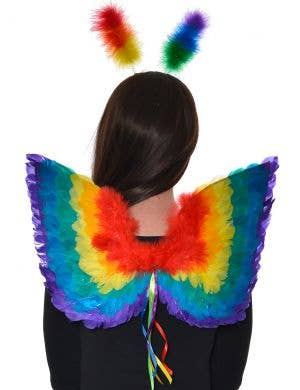 Rainbow Feather Mini Wings Costume Accessory