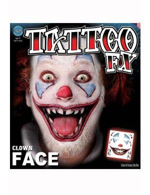 Horror Clown Temporary Tattoo Makeup Main Image