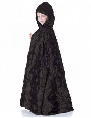 Kid's Long Black Hooded Costume Cape Side View