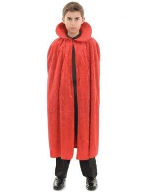 Long Red Velvet Kids Halloween Costume Cape