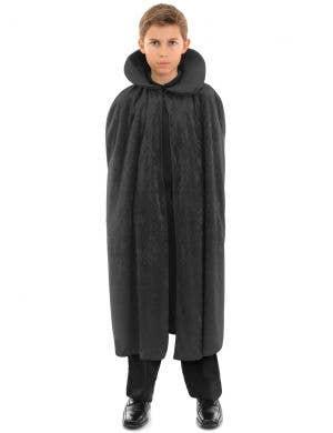 Long Black Velvet Kids Halloween Costume Cape