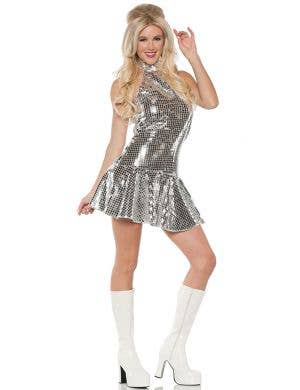 70's Silver Sequin Women's Sexy Dance Fever Costume