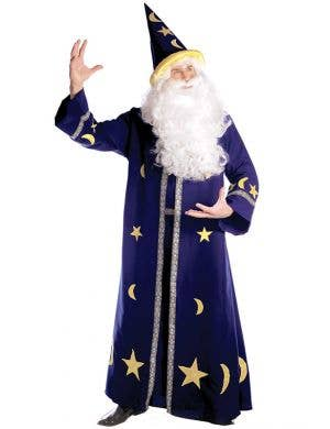 Men's Blue Wizard Spell Master Fancy Dress Costume Front