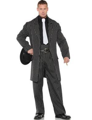Wise Guy 1920's Pinstripe Men's Plus Size Gangster Costume