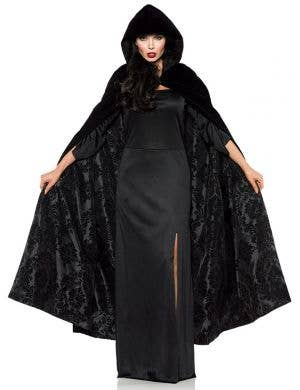 Deluxe Black Cloak with Black Satin Flocked Lining