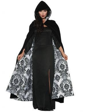 Deluxe Black and White Flocked Satin Costume Cape