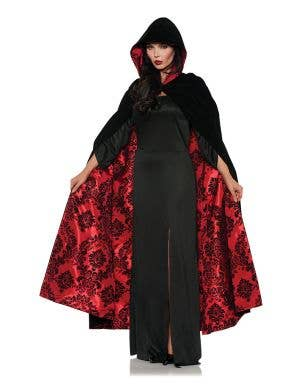 Deluxe Black Velvet Cloak with Red Satin Flocked Lining