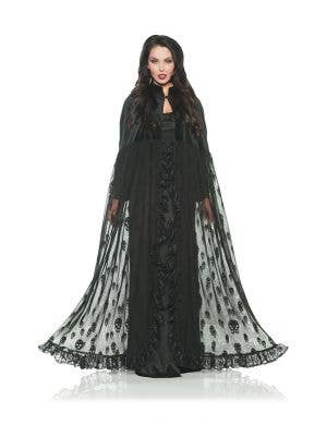 Velvet and Mesh Women's Black Skull Costume Cape