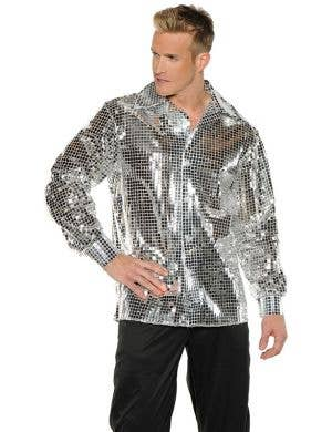 1970's Silver Disco Ball Men's Plus Size Costume Shirt