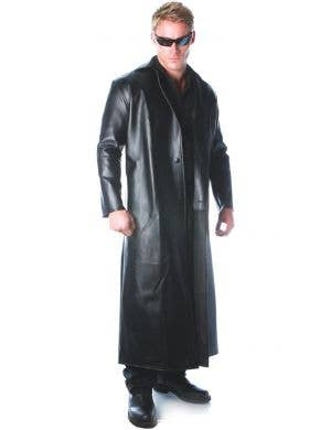 Menace Black Vinyl Men's Costume Trench Coat