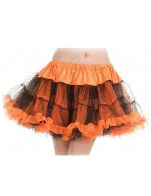 Ruffled Thigh Length Orange and Black Petticoat