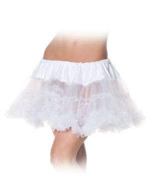Ruffle White Thigh Length Women's Petticoat