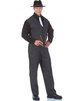 Mobster Boss Black Pinstripe Men's Gangster Costume