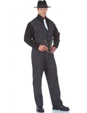 Mobster Boss Black Plus Size Pinstripe Men's Gangster Costume