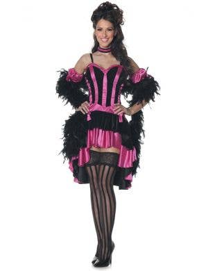 Women's Pink and Back Burlesque Costume Main Image