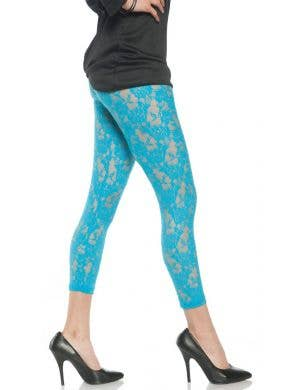 1980's Women's Neon Blue Lace Costume Leggings