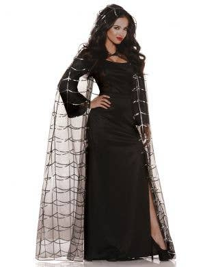 Sheer Black and Silver Spiderweb Halloween Cape