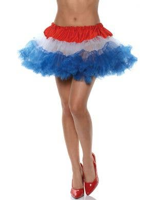 Ruffled Thigh Length Red, White and Blue Costume Petticoat