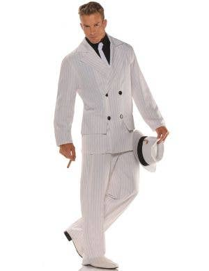 Smooth Criminal White Pinstripe Men's Gangster Costume