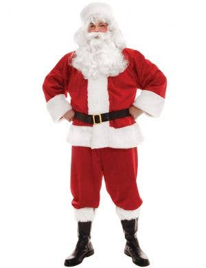 Deluxe Plush Red Santa Suit Men's Christmas Costume