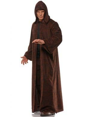 Medieval Men's Brown Costume Cloak with Hood