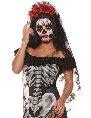 Day of the Dead Women's Flower Headband with Veil