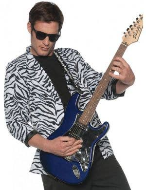 1980's White and Black Zebra Print Men's Plus Size Costume Blazer