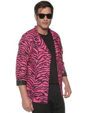 1980's Pink Zebra Print Men's Plus Size Costume Blazer
