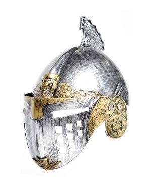 Antique Silver and Gold Knight Costume Helmet