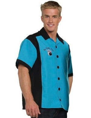 Big Daddy Men's Plus Size 50s Blue Bowling Costume Shirt