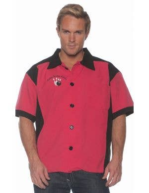 Lucky Strike Men's Fuchsia 50's Bowling Costume Shirt