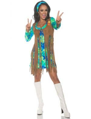 1960's Groovy Green Women's Retro Fancy Dress Costume