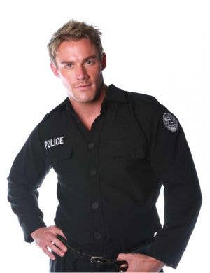 Men's Police Officer Cop Deluxe Costume Shirt
