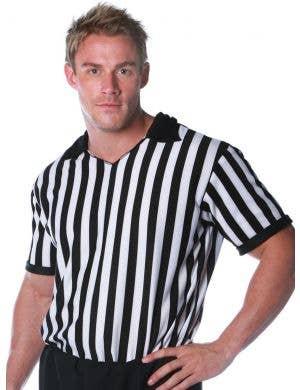 Sports Referee Plus Size Men's Striped Costume Shirt
