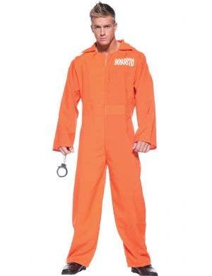 Men's Orange Prisoner Jumpsuit Fancy Dress Costume Front