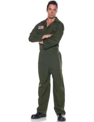 Air Force Aviator Men's Khaki Flight Suit Costume
