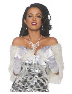 Fancy Women's White Faux Fur Shrug Costume Accessory