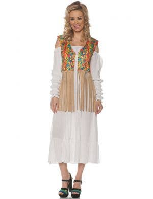 1970's Women's Fringed Flower Hippie Costume Vest