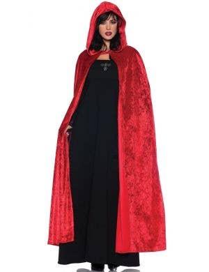 Halloween Red Velvet Long Hooded Women's Cloak