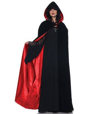 Deluxe Satin Lined Red and Black Costume Cape