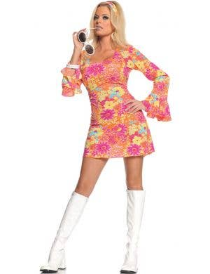 Flower Power Women's Sexy 60's Fancy Dress Costume